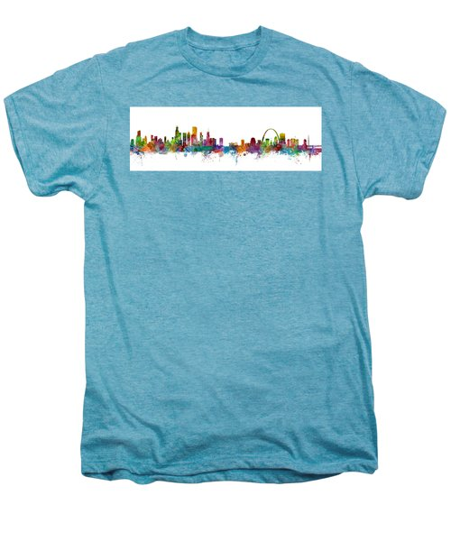 Chicago And St Louis Skyline Mashup Men's Premium T-Shirt by Michael Tompsett