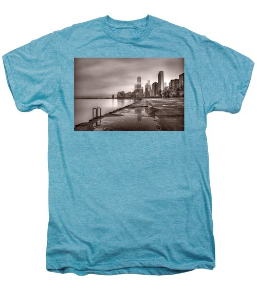 Chicago Foggy Lakefront Bw Men's Premium T-Shirt by Steve Gadomski