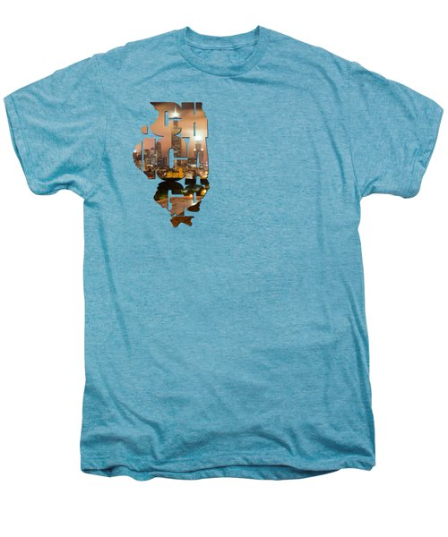 Chicago Illinois Typography - Chicago Skyline From The Rooftop Men's Premium T-Shirt by Gregory Ballos