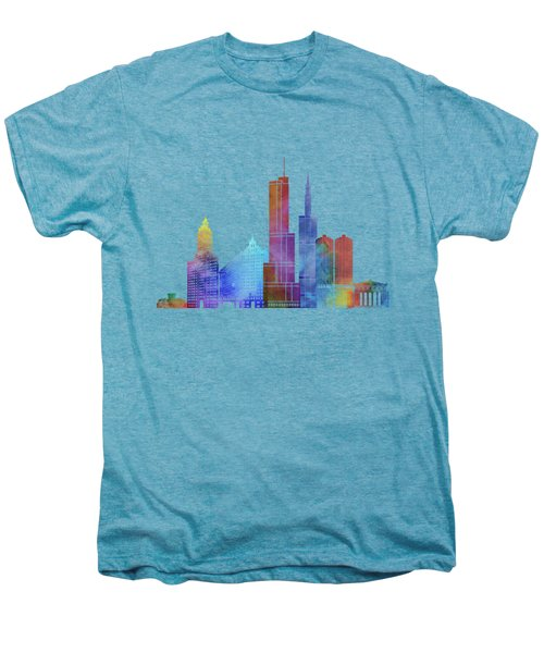 Chicago Landmarks Watercolor Poster Men's Premium T-Shirt by Pablo Romero