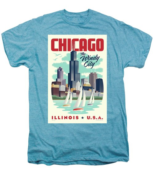 Chicago Retro Travel Poster Men's Premium T-Shirt by Jim Zahniser