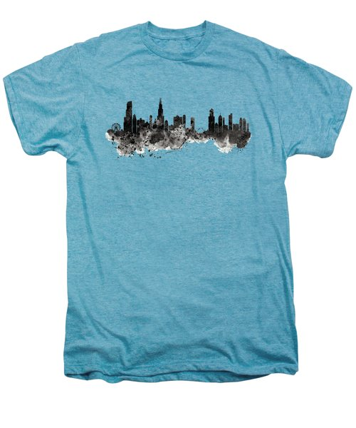 Chicago Skyline Black And White Men's Premium T-Shirt by Marian Voicu