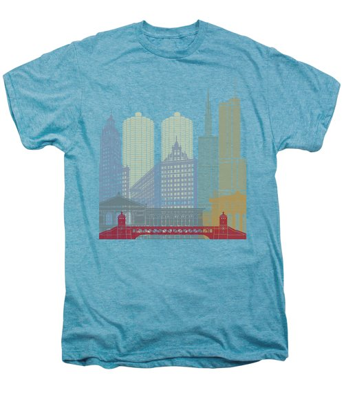 Chicago Skyline Poster Men's Premium T-Shirt by Pablo Romero