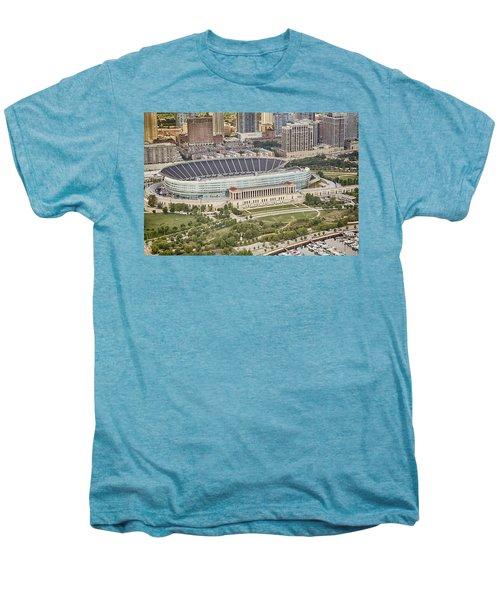 Chicago's Soldier Field Aerial Men's Premium T-Shirt by Adam Romanowicz