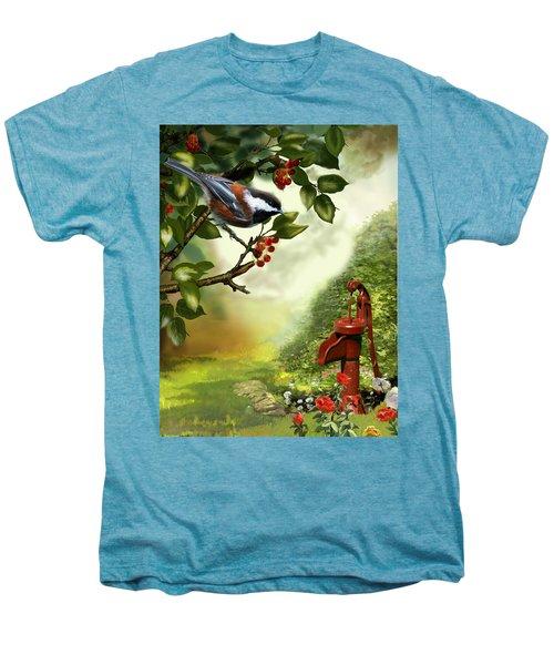 Chickadee Visiting The Water Pump Men's Premium T-Shirt by Regina Femrite