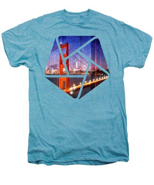 City Art Golden Gate Bridge Composing Men's Premium T-Shirt by Melanie Viola