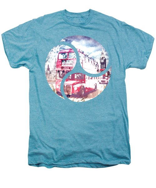 City-art London Red Buses On Westminster Bridge Men's Premium T-Shirt by Melanie Viola