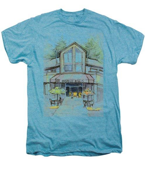 Coffee Shop Watercolor Sketch Men's Premium T-Shirt by Olga Shvartsur