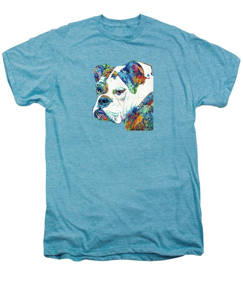 Colorful English Bulldog Art By Sharon Cummings Men's Premium T-Shirt by Sharon Cummings
