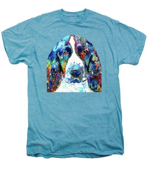 Colorful English Springer Spaniel Dog By Sharon Cummings Men's Premium T-Shirt by Sharon Cummings