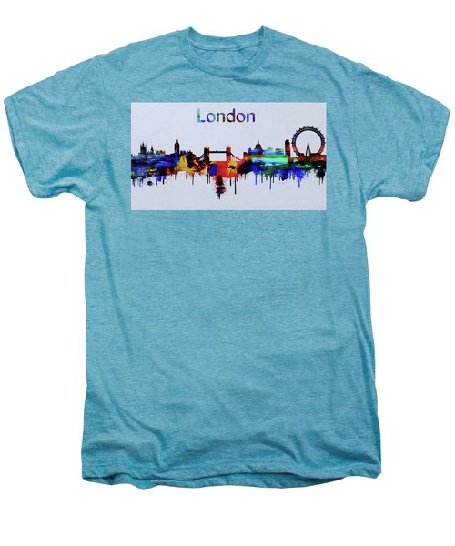 Colorful London Skyline Silhouette Men's Premium T-Shirt by Dan Sproul