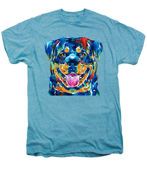 Colorful Rottie Art - Rottweiler By Sharon Cummings Men's Premium T-Shirt by Sharon Cummings