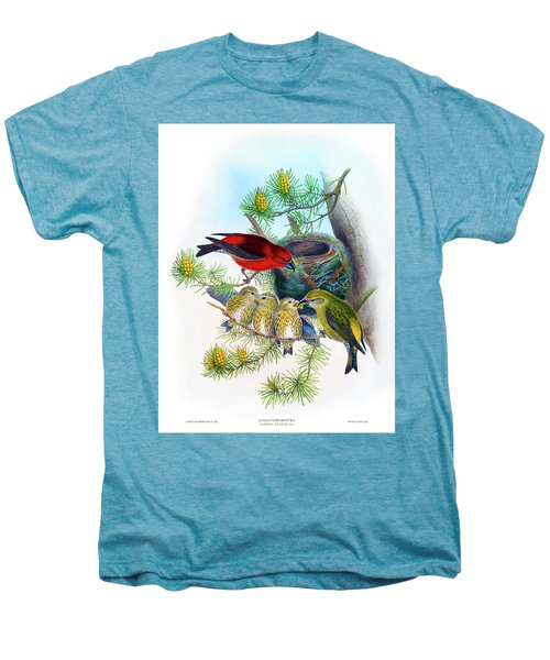 Common Crossbill Antique Bird Print John Gould Hc Richter Birds Of Great Britain  Men's Premium T-Shirt by Orchard Arts
