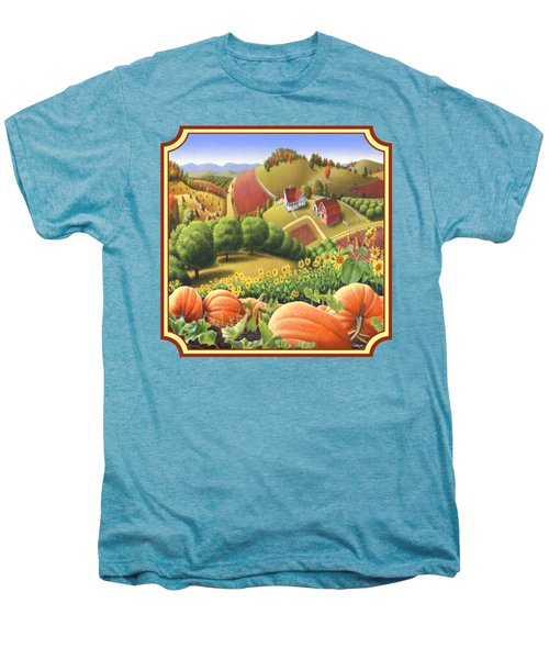 Country Landscape - Appalachian Pumpkin Patch - Country Farm Life - Square Format Men's Premium T-Shirt by Walt Curlee
