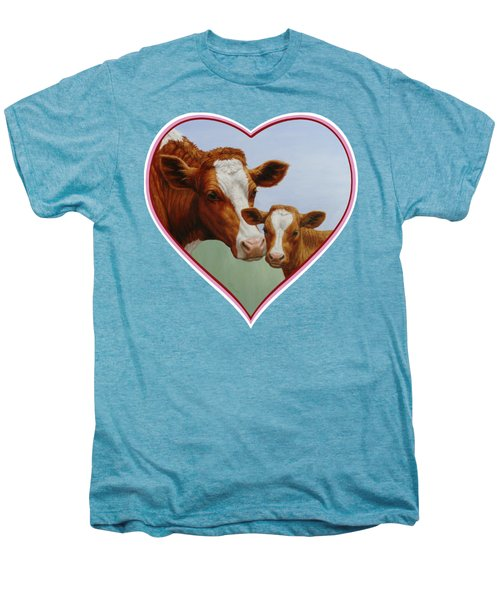 Cow And Calf Pink Heart Men's Premium T-Shirt by Crista Forest