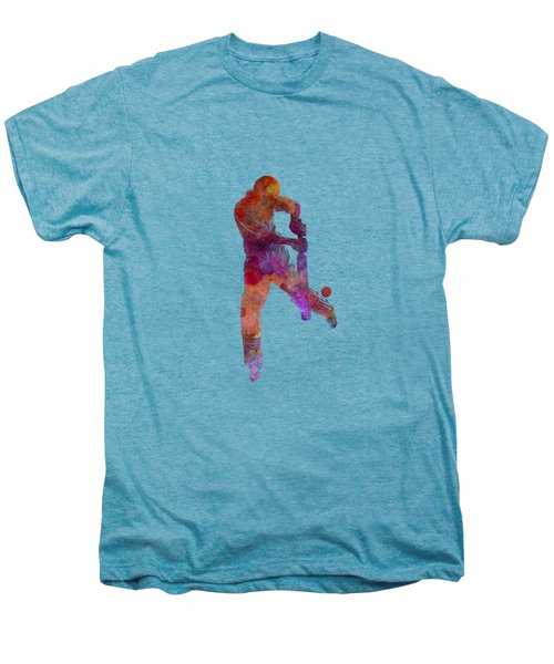 Cricket Player Batsman Silhoutte Men's Premium T-Shirt by Pablo Romero