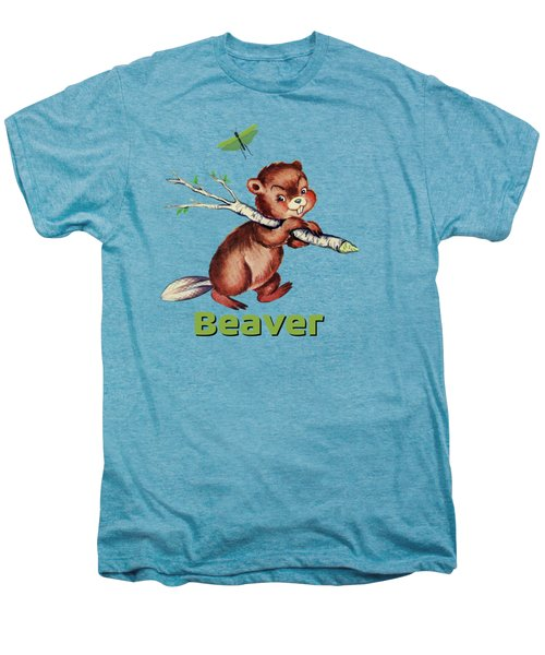 Cute Baby Beaver Pattern Men's Premium T-Shirt by Tina Lavoie