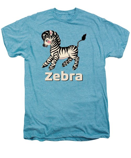 Cute Baby Zebra Pattern Vintage Book Illustration Pattern Men's Premium T-Shirt by Tina Lavoie