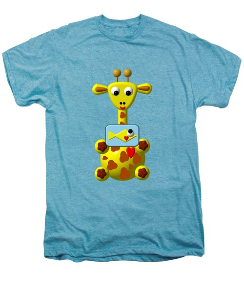 Cute Giraffe With Goldfish Men's Premium T-Shirt by Rose Santuci-Sofranko