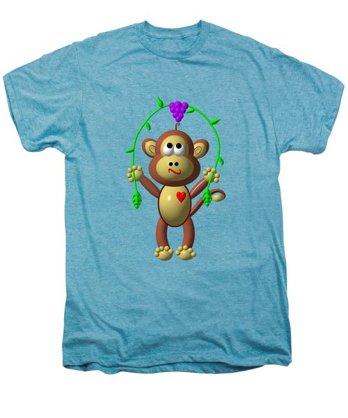 Cute Monkey Jumping Rope Men's Premium T-Shirt by Rose Santuci-Sofranko