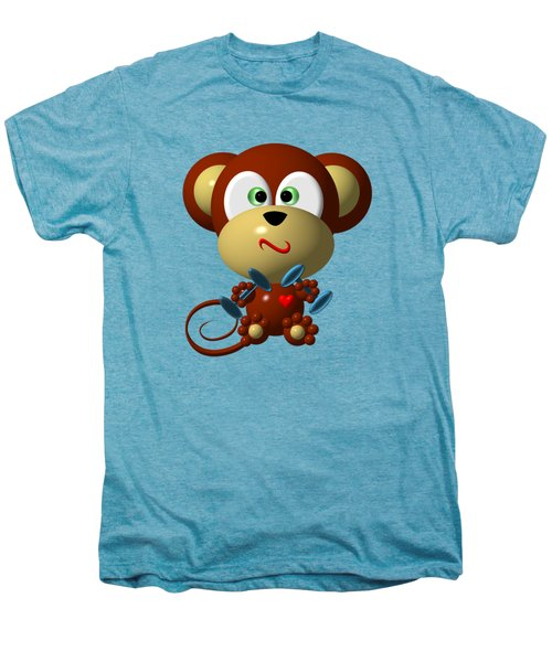 Cute Monkey Lifting Weights Men's Premium T-Shirt by Rose Santuci-Sofranko