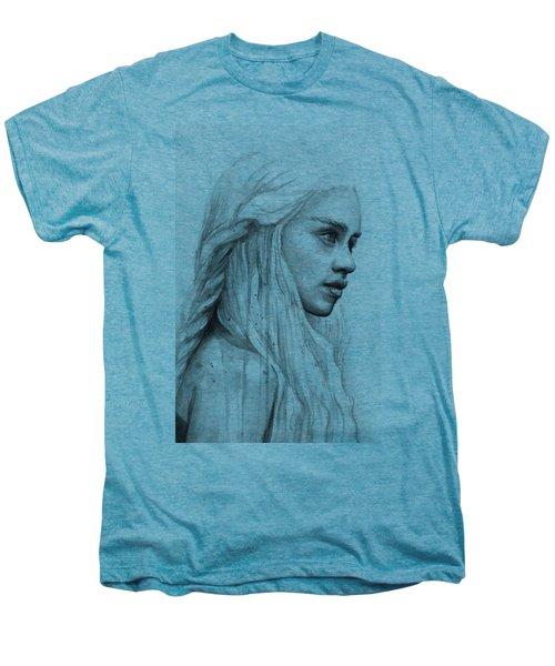 Daenerys Watercolor Portrait Men's Premium T-Shirt by Olga Shvartsur