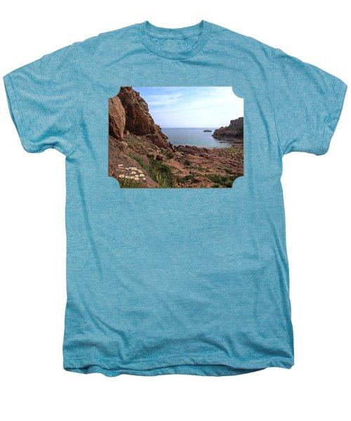 Daisies In The Granite Rocks At Corbiere Men's Premium T-Shirt by Gill Billington