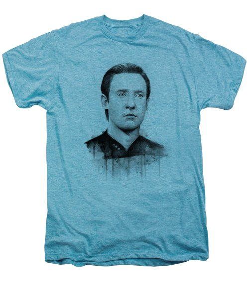 Data Portrait Star Trek Fan Art Watercolor Men's Premium T-Shirt by Olga Shvartsur