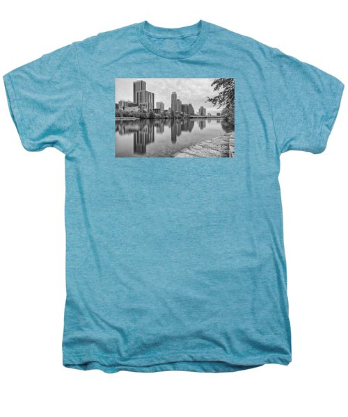 Downtown Austin In Black And White Across Lady Bird Lake - Colorado River Texas Hill Country Men's Premium T-Shirt by Silvio Ligutti