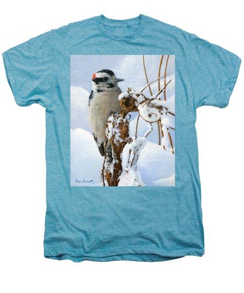 Downy Woodpecker  Men's Premium T-Shirt by Ken Everett