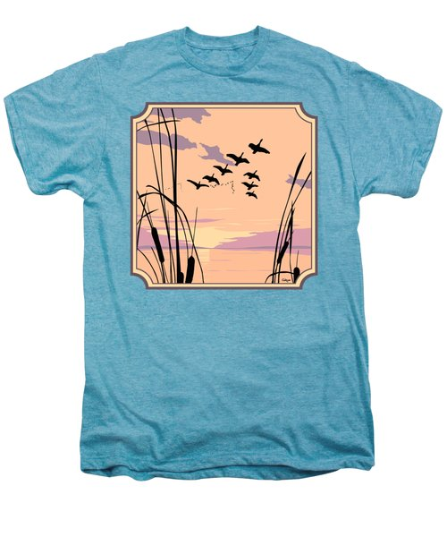 Ducks Flying Over The Lake Abstract Sunset - Square Format Men's Premium T-Shirt by Walt Curlee