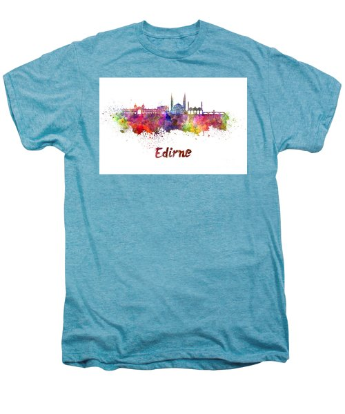 Edirne Skyline In Watercolor Men's Premium T-Shirt by Pablo Romero