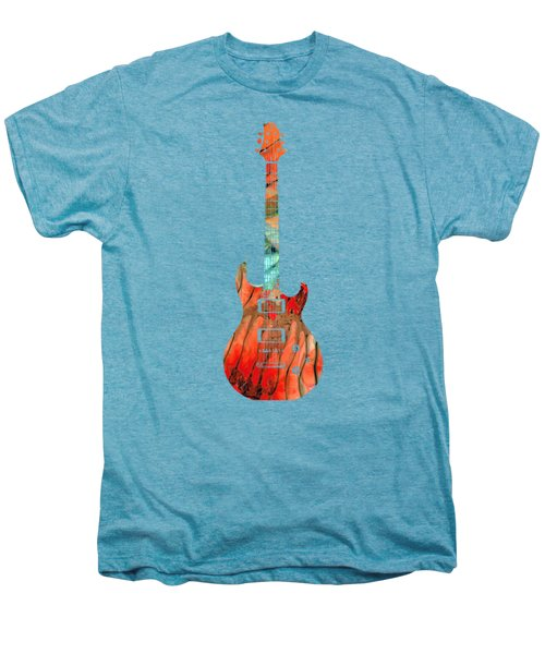 Electric Guitar 2 - Buy Colorful Abstract Musical Instrument Men's Premium T-Shirt by Sharon Cummings