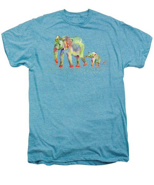 Elephant Family Watercolor  Men's Premium T-Shirt by Melly Terpening