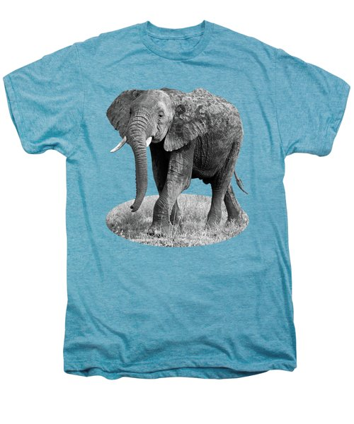 Elephant Happy And Free In Black And White Men's Premium T-Shirt by Gill Billington