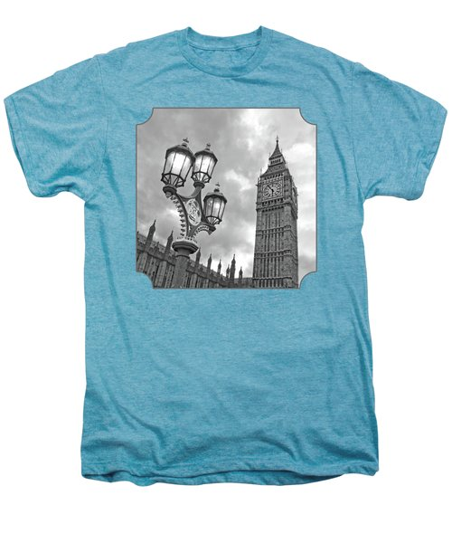 Evening Light At Big Ben In Black And White Men's Premium T-Shirt by Gill Billington