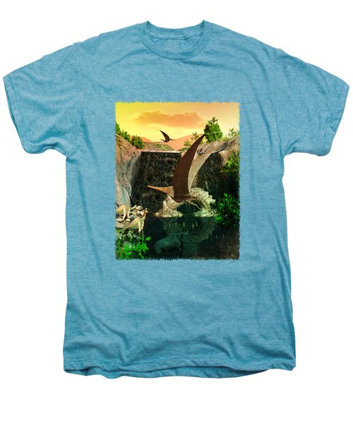 Fantasy Worlds 3d Dinosaur 2 Men's Premium T-Shirt by Sharon and Renee Lozen