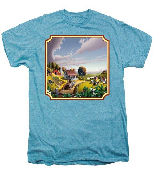 Farm Americana - Farm Decor - Appalachian Blackberry Patch - Square Format - Folk Art Men's Premium T-Shirt by Walt Curlee