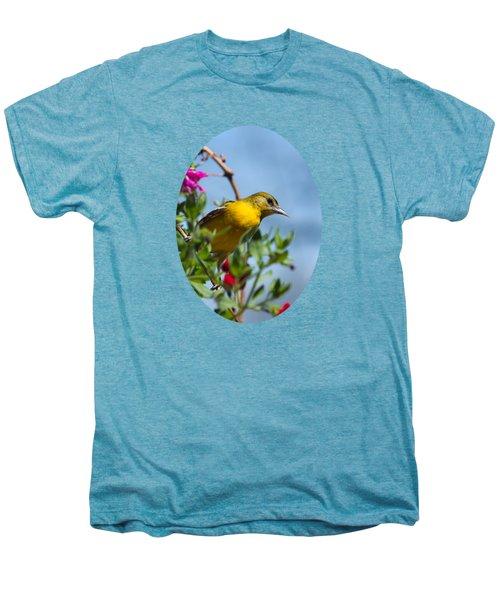 Female Baltimore Oriole In A Flower Basket Men's Premium T-Shirt by Christina Rollo