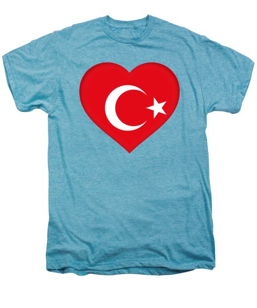 Flag Of Turkey Heart Men's Premium T-Shirt by Roy Pedersen