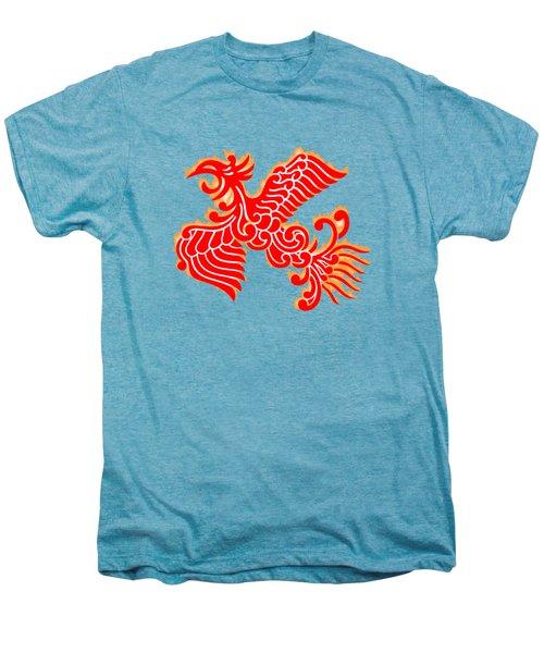 Flaming Red Phoenix Rising Men's Premium T-Shirt by Nathan Beardsley