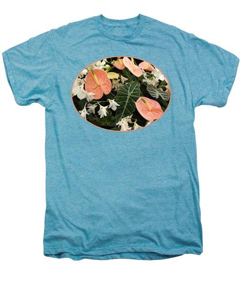 Flamingo Flowers And Orchids Men's Premium T-Shirt by Gill Billington