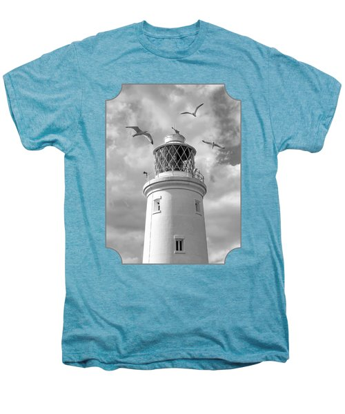 Fly Past - Seagulls Round Southwold Lighthouse In Black And White Men's Premium T-Shirt by Gill Billington