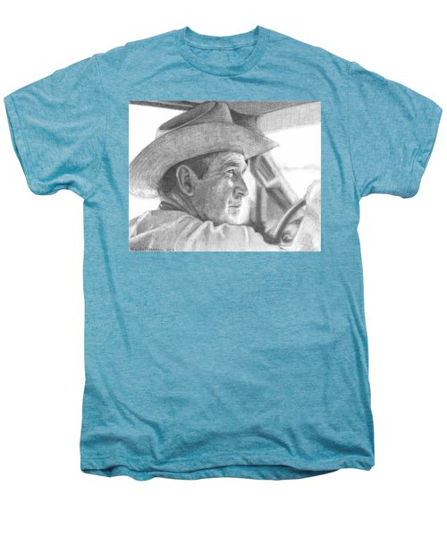 Former Pres. George W. Bush Wearing A Cowboy Hat Men's Premium T-Shirt by Michelle Flanagan