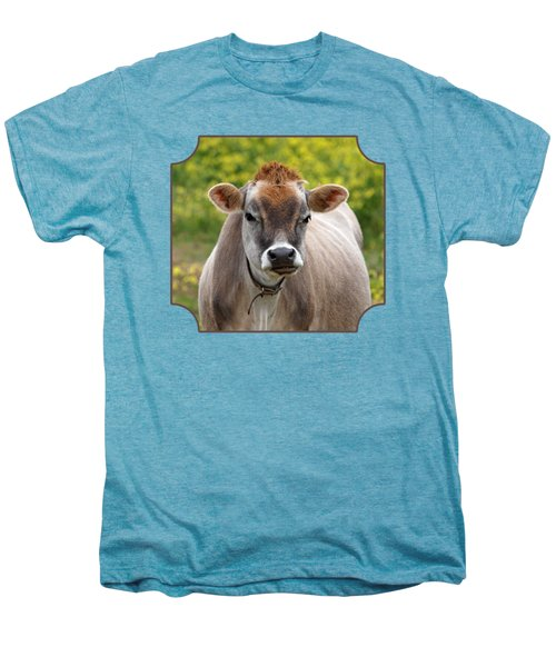 Funny Jersey Cow -square Men's Premium T-Shirt by Gill Billington