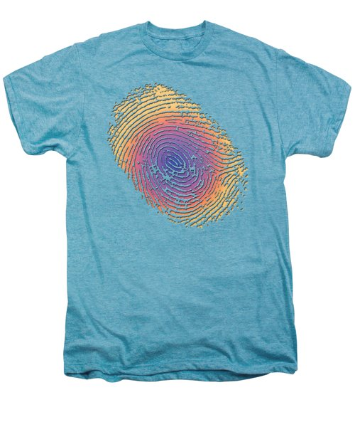 Giant Iridescent Fingerprint On Blue Knight Set Of 4 - 4 Of 4 Men's Premium T-Shirt by Serge Averbukh