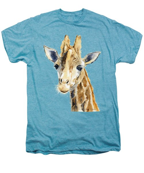 Giraffe Watercolor Men's Premium T-Shirt by Melly Terpening