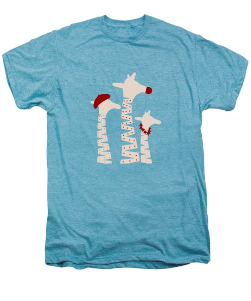 Giraffes Holiday Season Design Men's Premium T-Shirt by Brigitte Carre