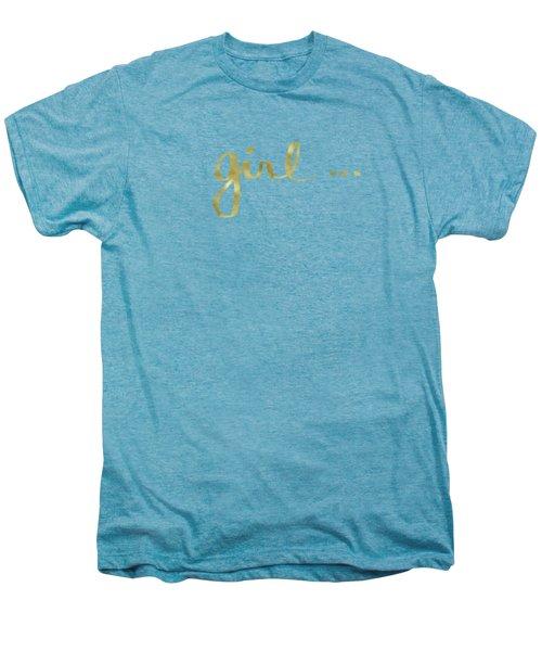 Girl Talk Gold- Art By Linda Woods Men's Premium T-Shirt by Linda Woods