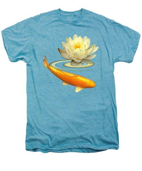 Golden Harmony - Koi Carp With Water Lily Men's Premium T-Shirt by Gill Billington